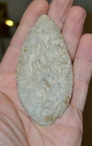 A large & very finely worked Neolithic / Pre-Dynastic Egyptian  flint Leaf shaped knife  (EG4) SOLD